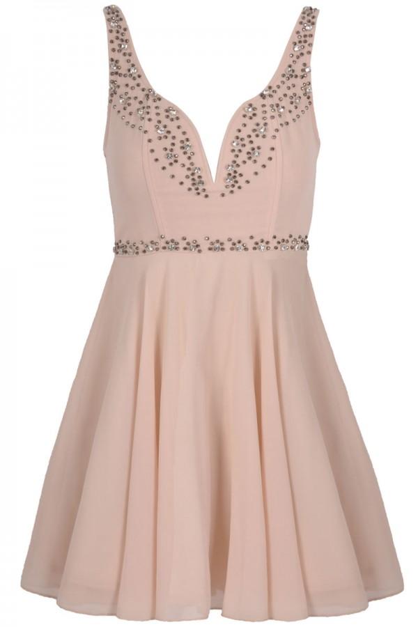 TFNC Edvina Embellished Plunge Dress
