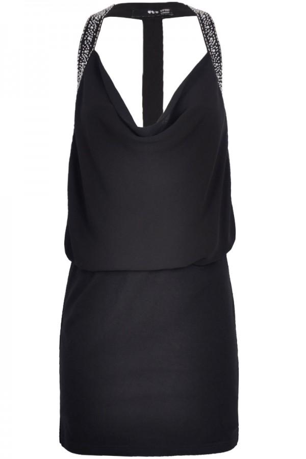 TFNC Amorella Cowl Neck Embellished Dress