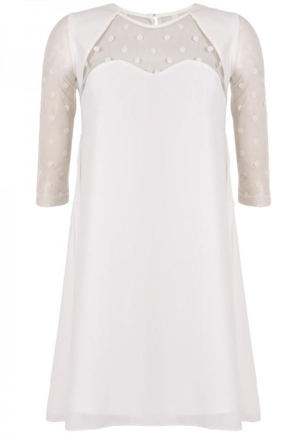 TFNC Stelle White Polka Dot Swing Dress