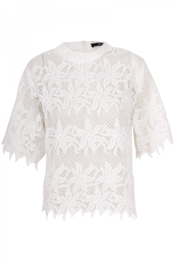 TFNC Lyly Floral Crochet Top