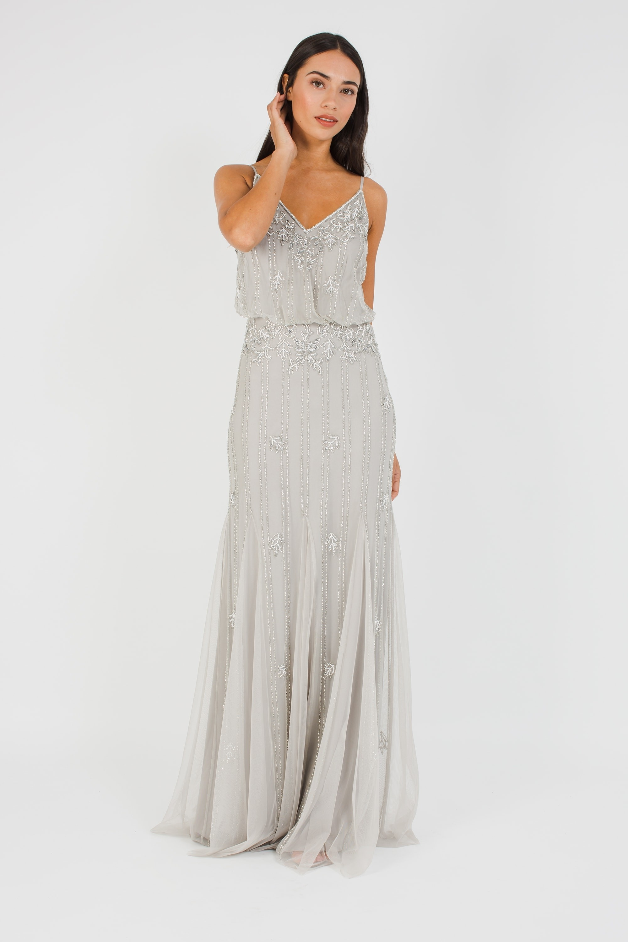 Lace Amp Beads Keeva Light Grey Maxi Dress Lace Amp Beads Party