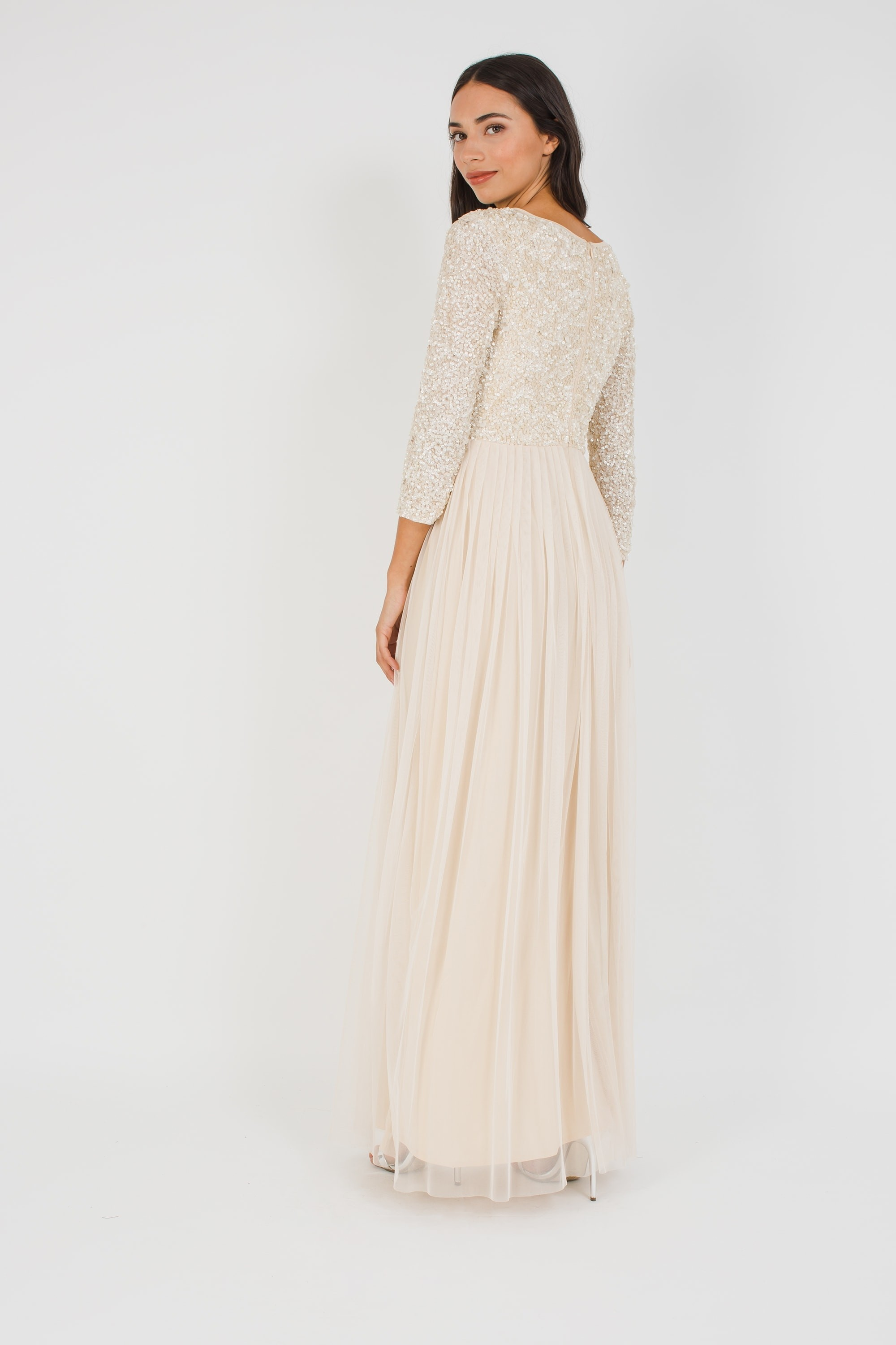 Lace Amp Beads Picasso 3 4 Sleeve Cream Maxi Dress Lace