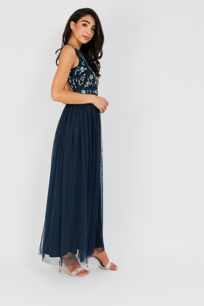 f8d20065aeb LACE   BEADS BOUDOUIR EMBELLISHED NAVY MAXI DRESS