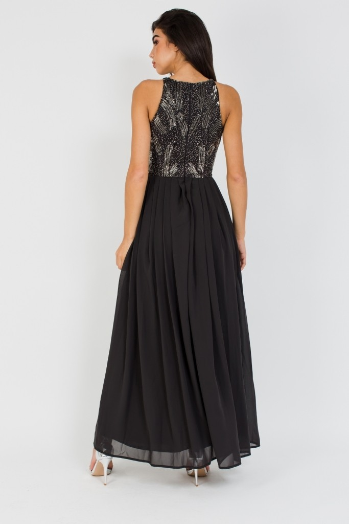 Lace Amp Beads Trudie Black Maxi Dress Party Dresses
