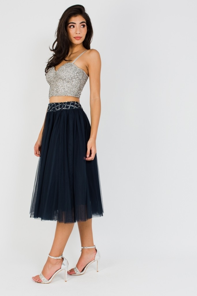 95726479417d1 LACE   BEADS CARMEL SKIRT EMBELLISHED MIDI SKIRTS
