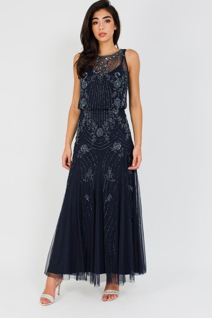 0c725b328d9 Lace   Beads Montana Embellished Navy Maxi Dress