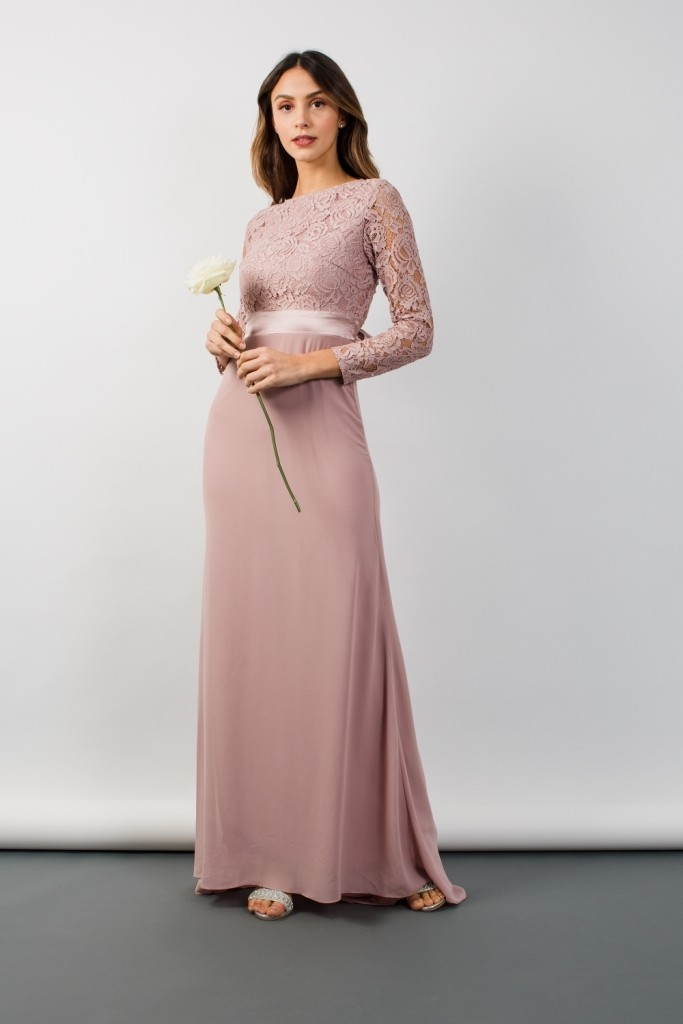0f668cbc243 TFNC Elly Lace With Sleeves Pale Mauve Maxi Dress