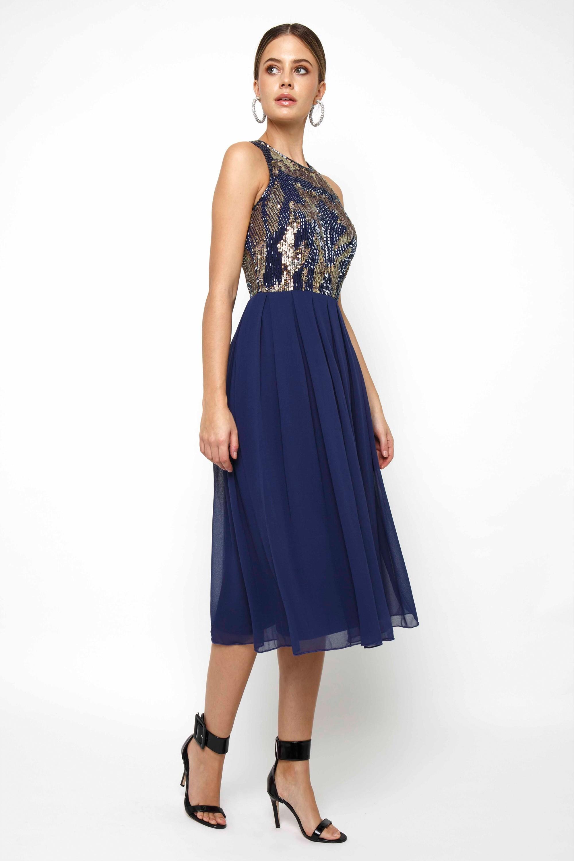 Lace Amp Beads Viva Embellished Midi Dress Party Dresses