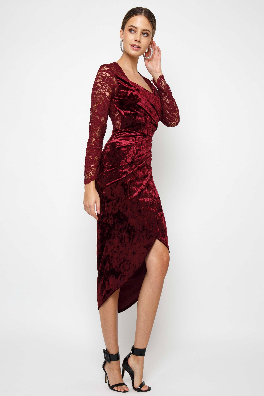 Tfnc Amela Velvet Burgundy Midi Dress Tfnc Party Dresses