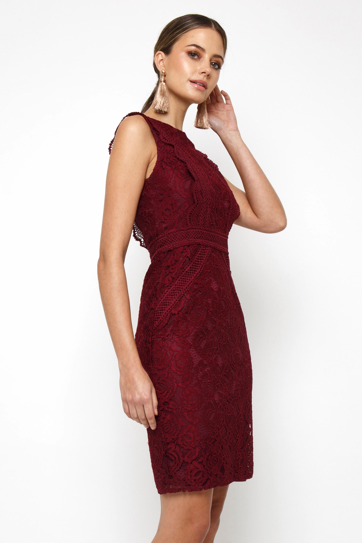 Tfnc Vania Burgundy Mini Dress Tfnc Party Dresses