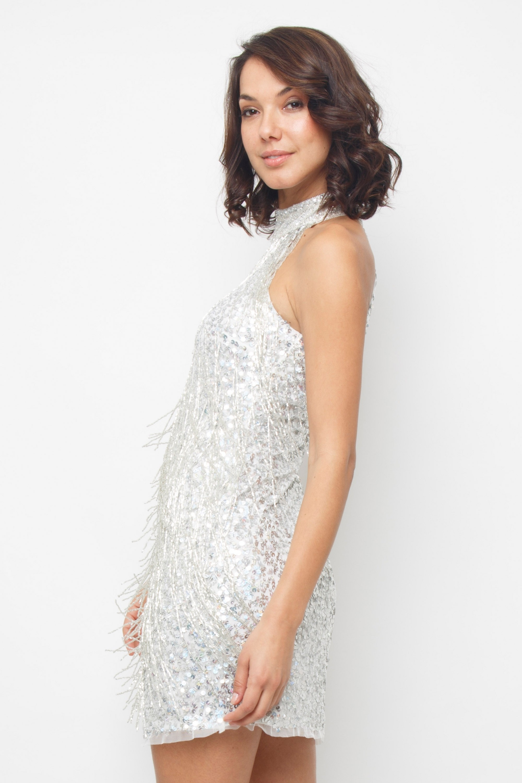 Lace Amp Beads Nadia Silver Mini Dress Lace Amp Beads Dresses