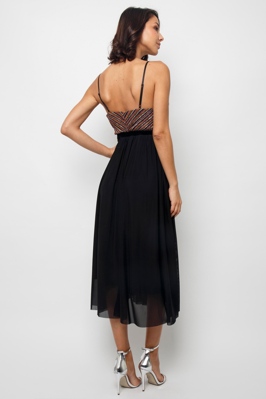 Tfnc Popy Black Midi Dress Tfnc Party Dresses