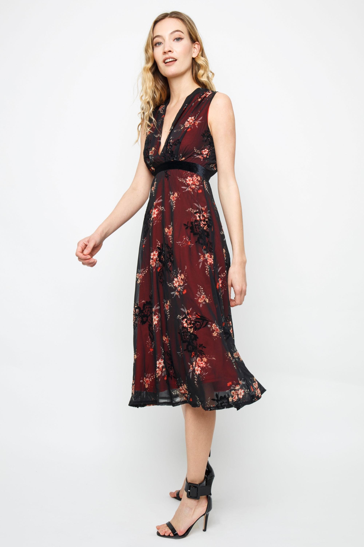 Tfnc Nicolia Burgundy Midi Dress Tfnc Party Dresses