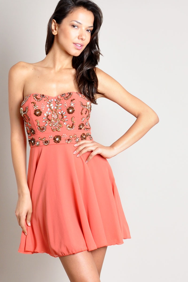 TFNC Amelia Bandeau Embellished Dress