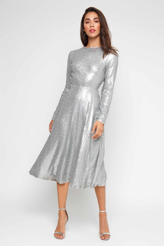 discount sale cheap marketable TFNC VENUS SILVER MIDI DRESS | TFNC PARTY DRESSES