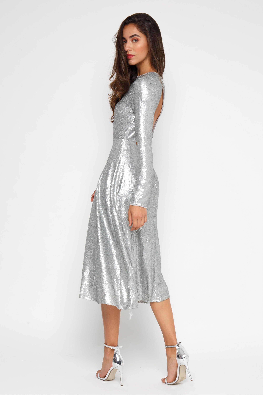 Tfnc Venus Silver Midi Dress Tfnc Party Dresses