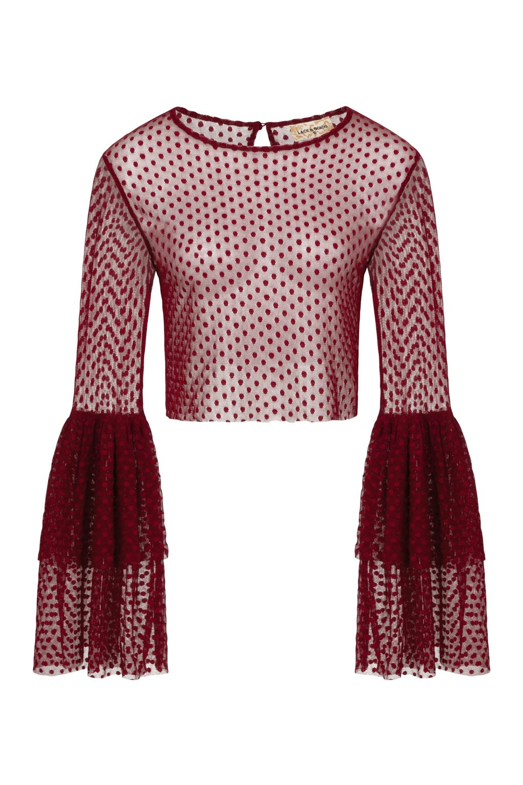 Lace Amp Beads Loon Burgundy Sheer Crop Top Lace Amp Beads Tops