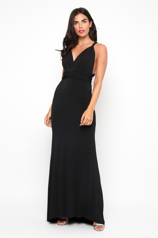 22b93cd25b61 Long Black Fitted Maxi Dress - raveitsafe