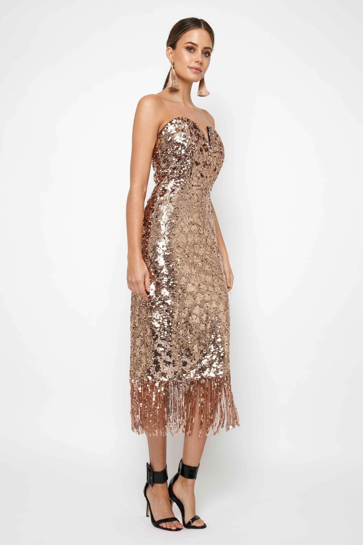 tfnc saskia rose gold midi dress  tfnc party dresses