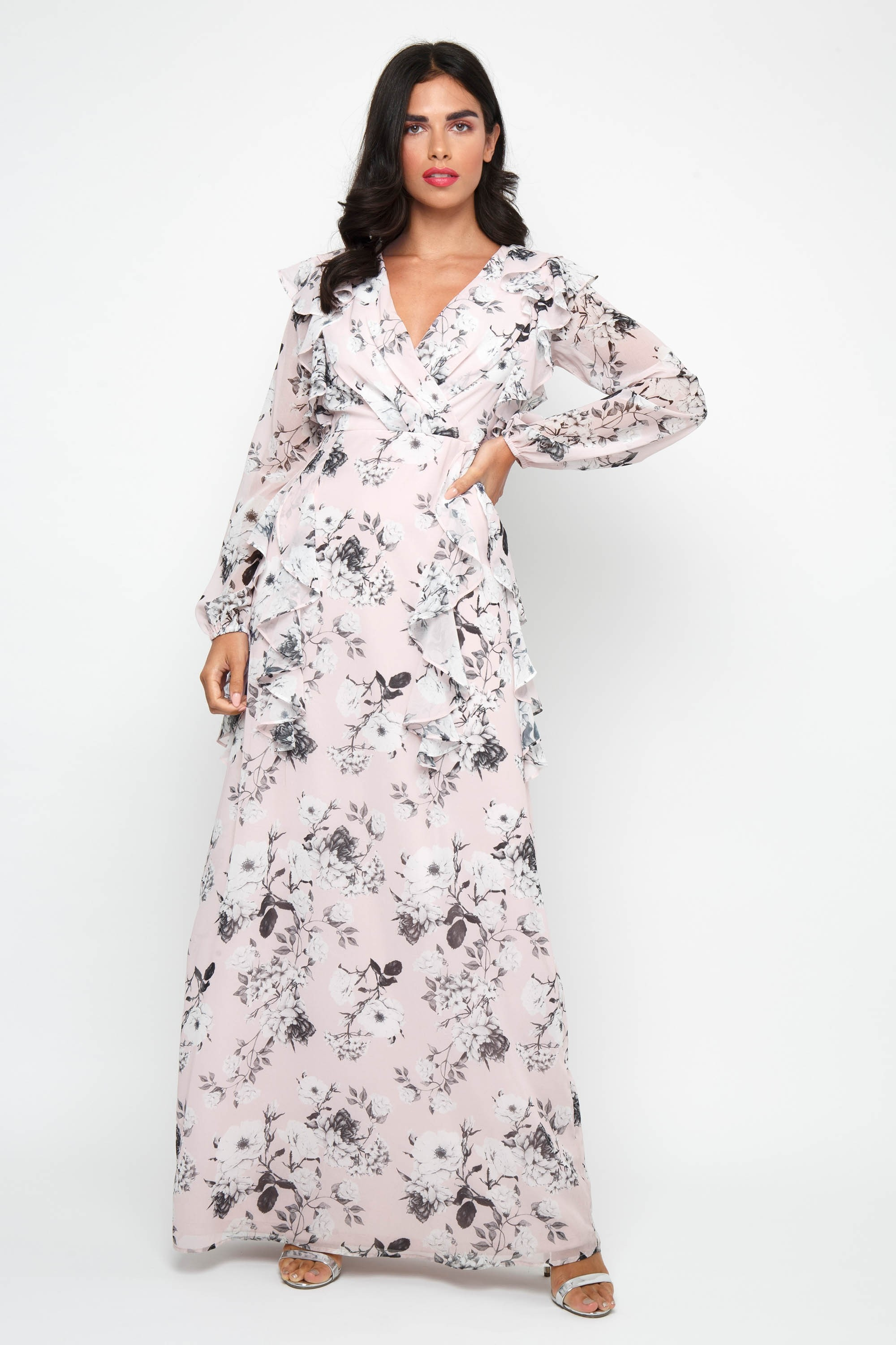 49a9c39e0f TFNC SHANICE PINK FLORAL MAXI DRESS | TFNC PARTY DRESSES