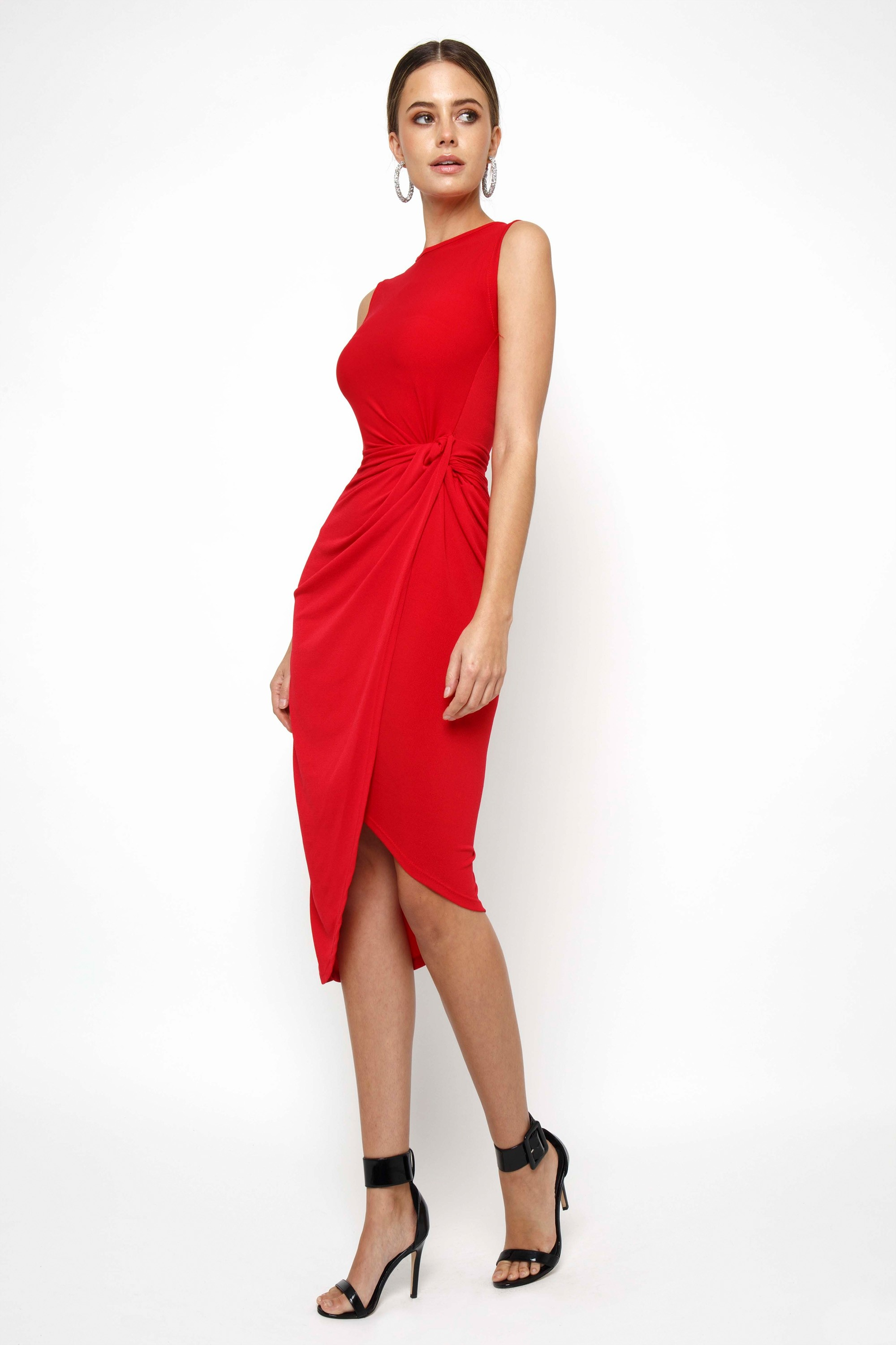 Walg Knot Tie Red Dress Walg Party Dresses