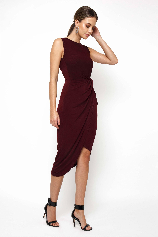 Walg Knot Tie Burgundy Dress Walg Party Dresses