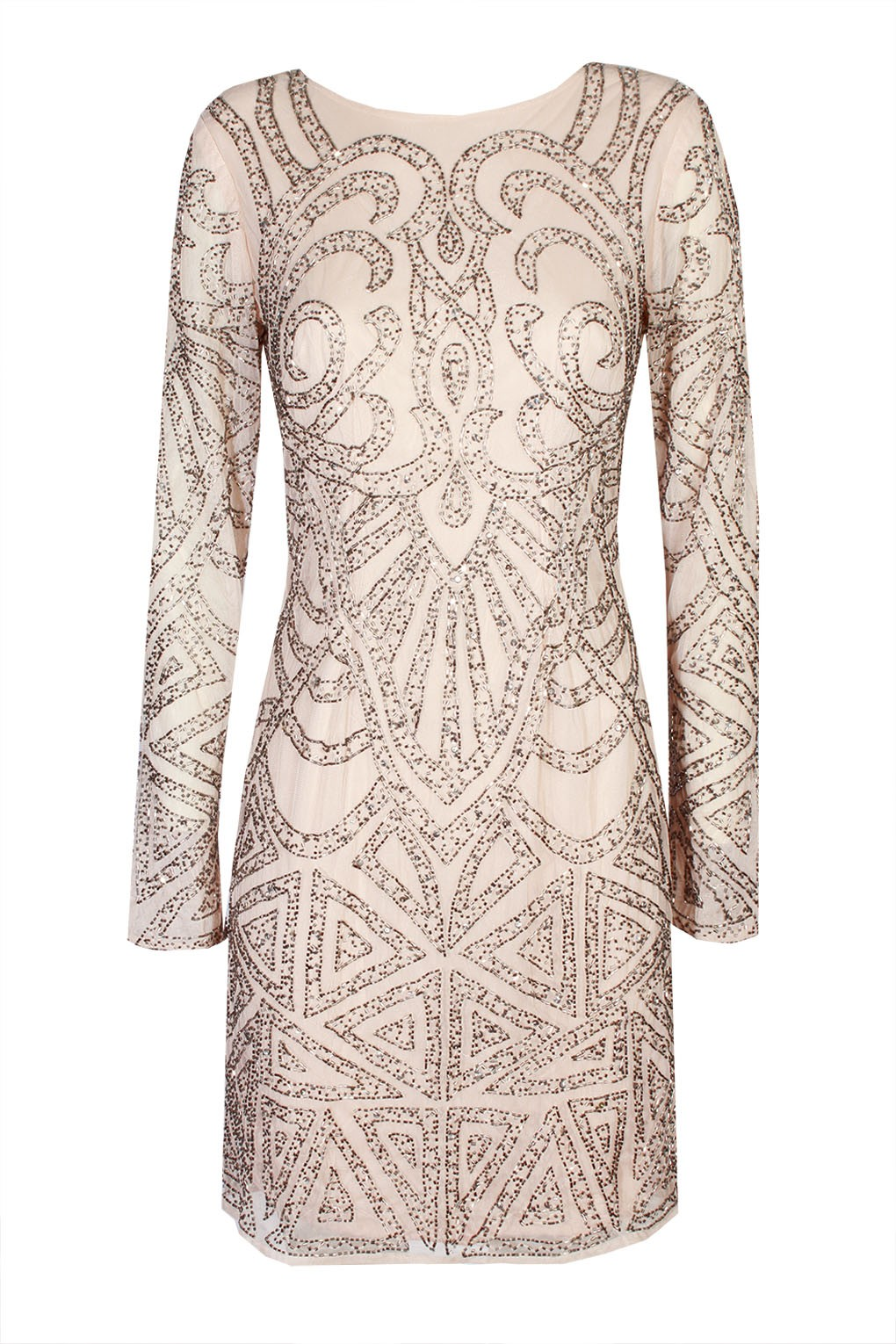 LACE Amp BEADS BROOKLYN PINK EMBELLISHED DRESS