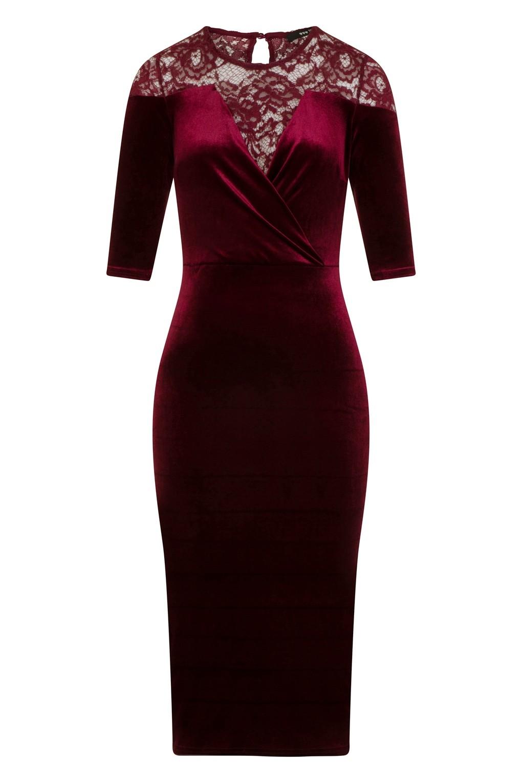 Tfnc anely velvet lace burgundy midi dress tfnc dress for Velvet and lace wedding dresses