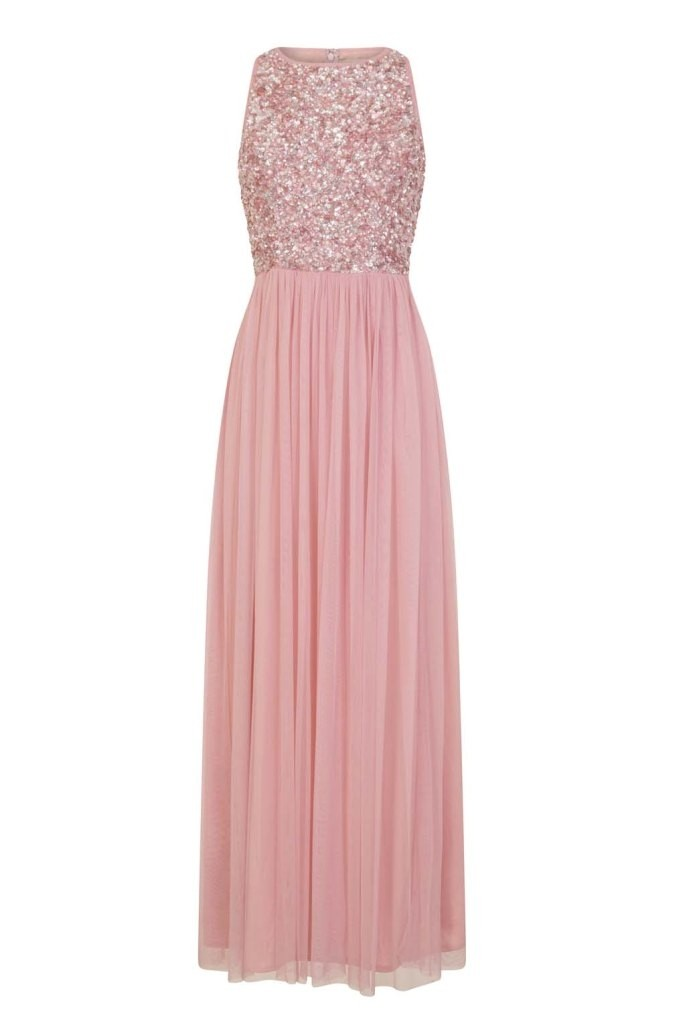 Lace Amp Beads Picasso Rose Pink Embellished Maxi Dress