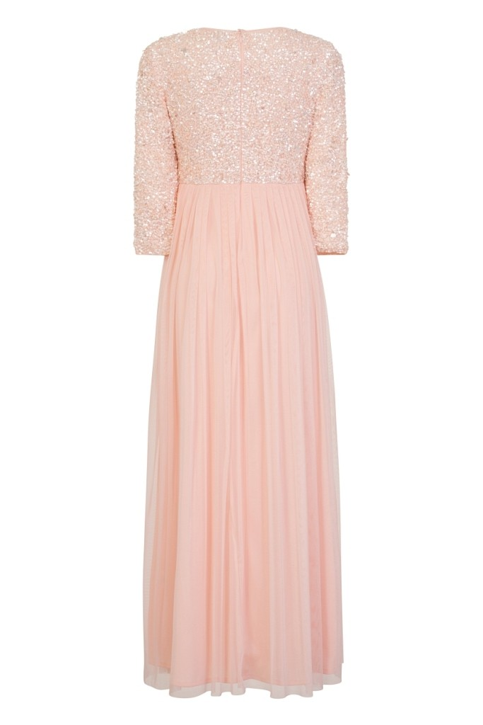 Lace Amp Beads Picasso Long Sleeved Pink Maxi Dress Lace