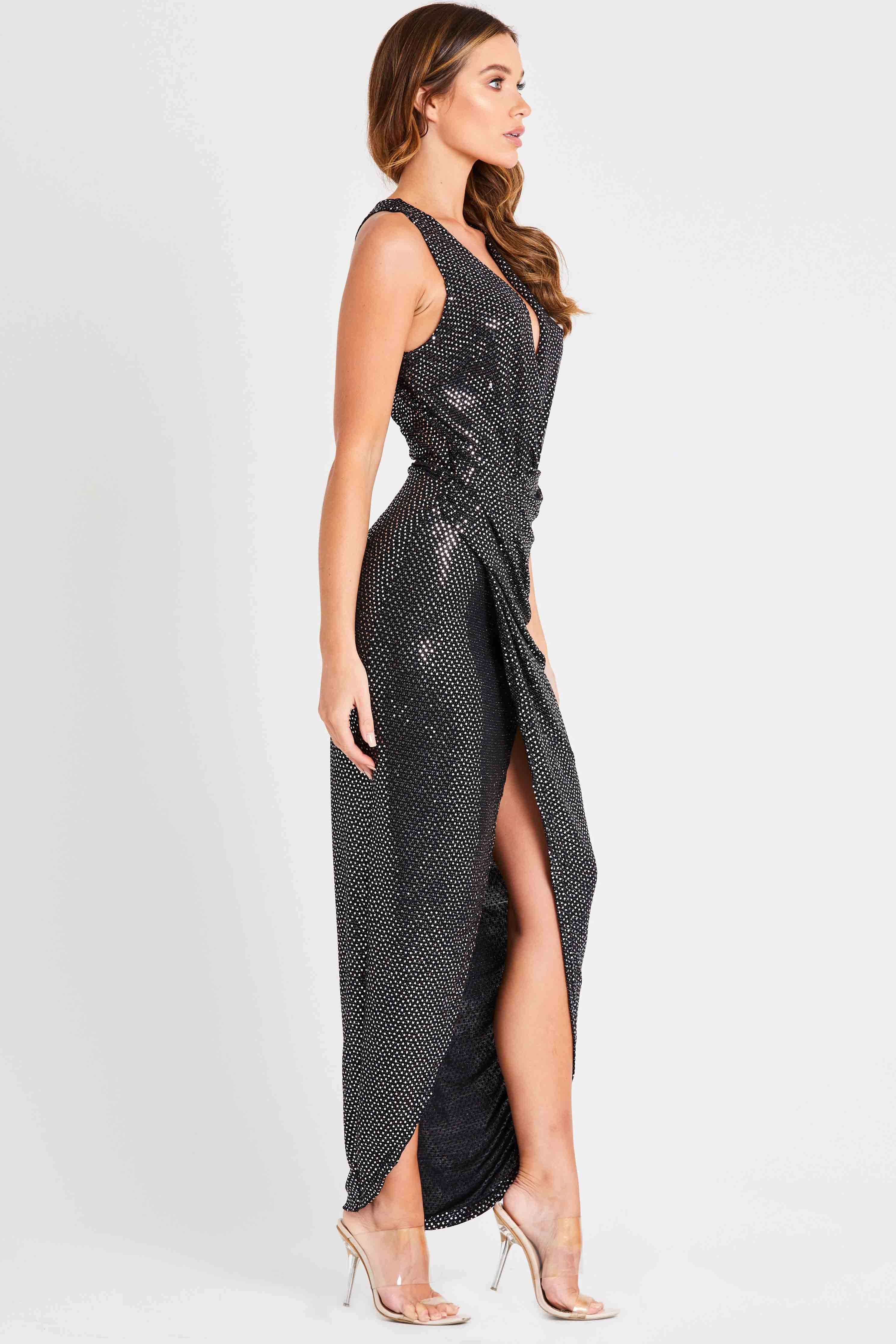 Skirt Amp Stiletto Alessandra Black Wrap Sequin Maxi Dress