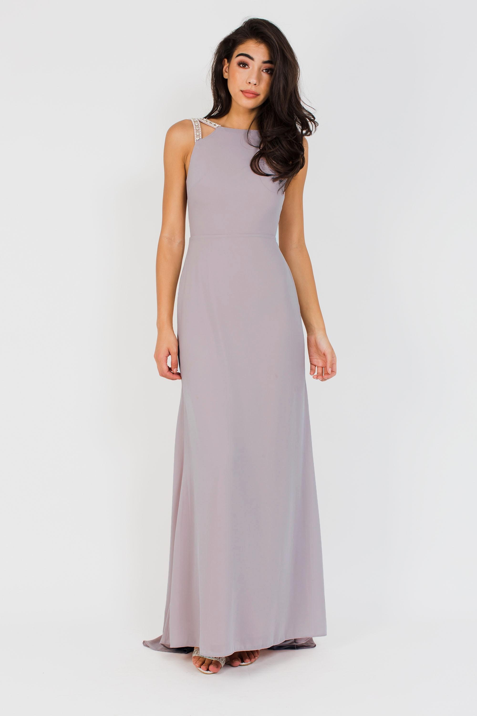 Tfnc Riva Grey Maxi Embellished Dress Tfnc Party Dresses