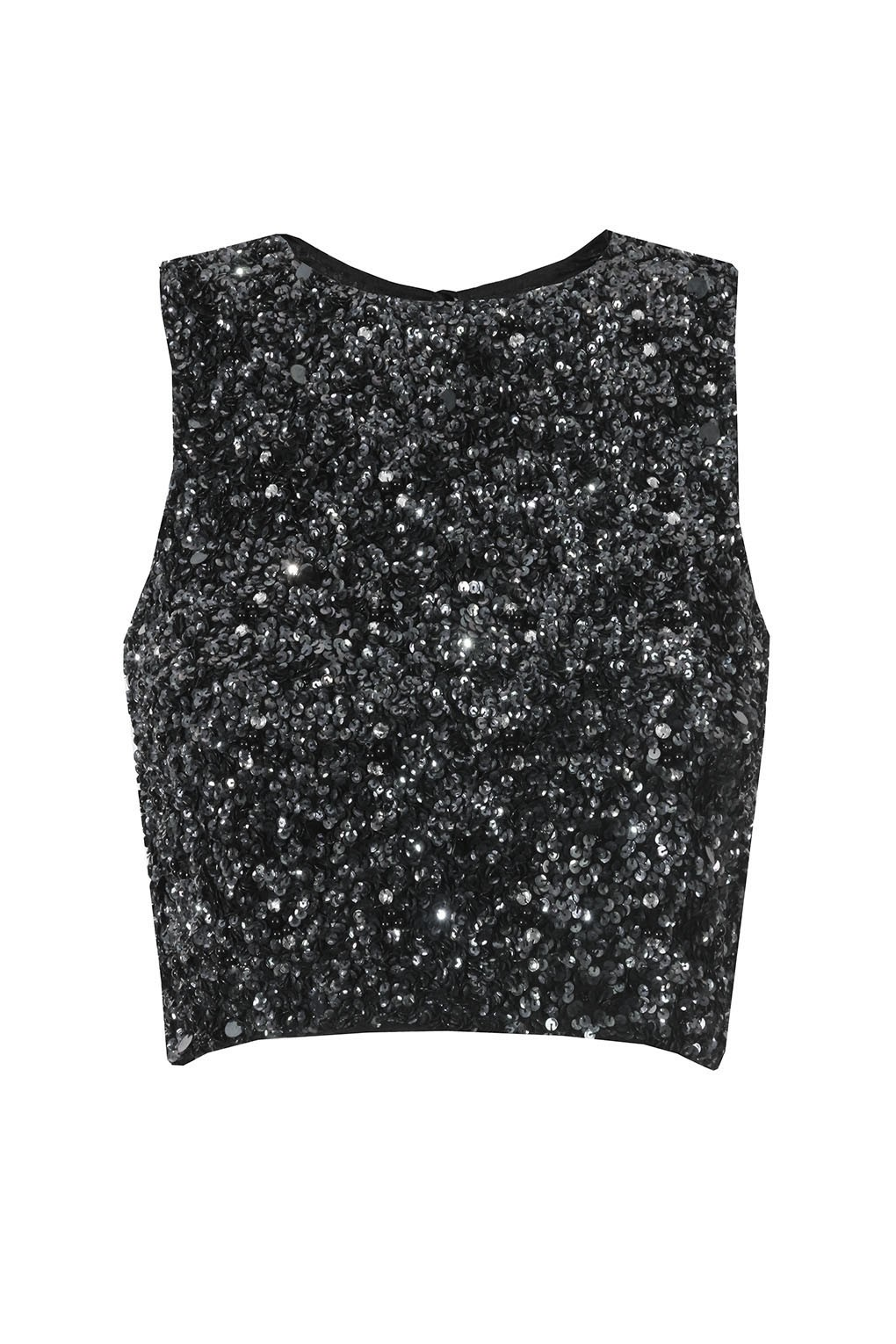 Lace Amp Beads Picasso Black Sequin Top Lace Amp Beads Tops