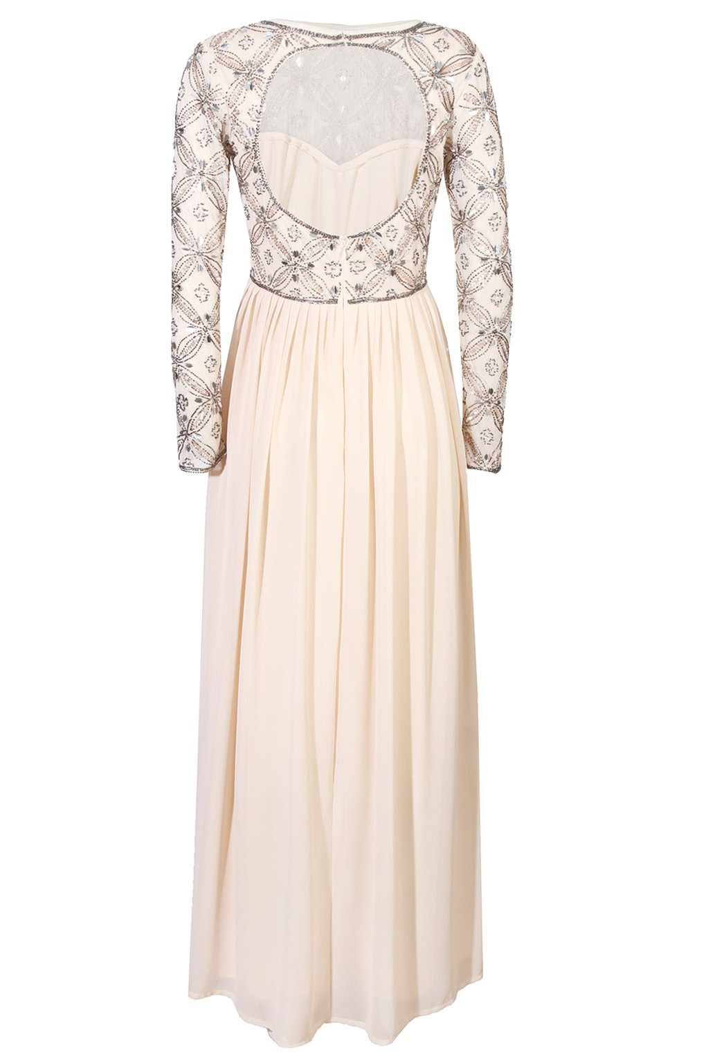 Lace Beads Carnation Cream Maxi Dress Party Dresses