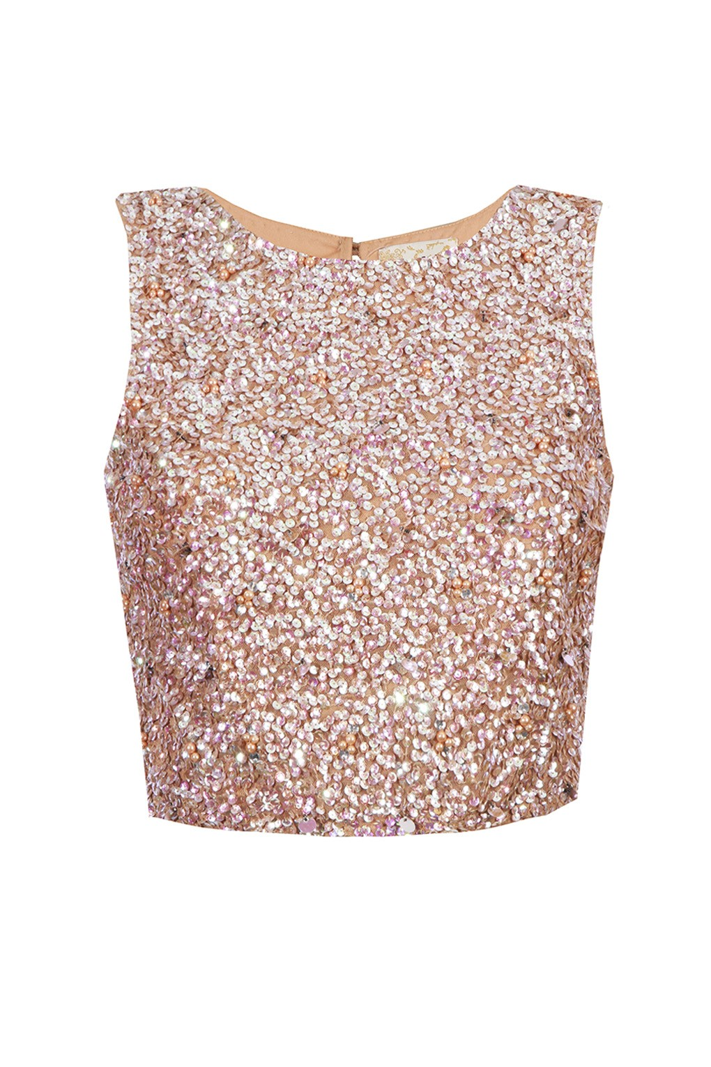 Lace Amp Beads Picasso Nude Sequin Top Tops