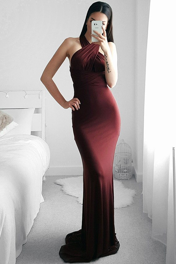 Tfnc Multi Way Burgandy Maxi Dress Tfnc Party Dresses