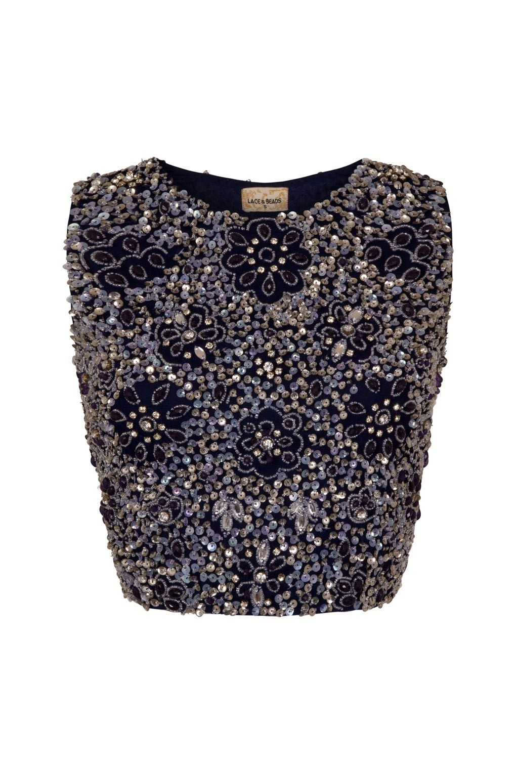 2cccfd50ff967f LACE   BEADS JUPITER NAVY SEQUIN TOP