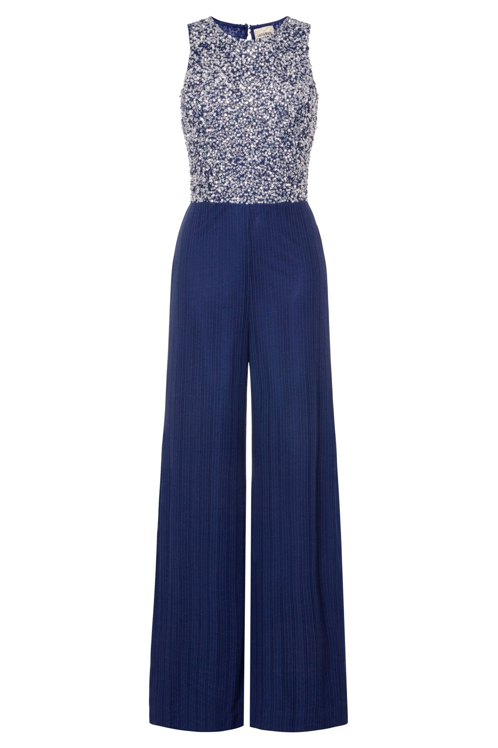 Lace Amp Beads Picasso Embellished Navy Jumpsuit Lace