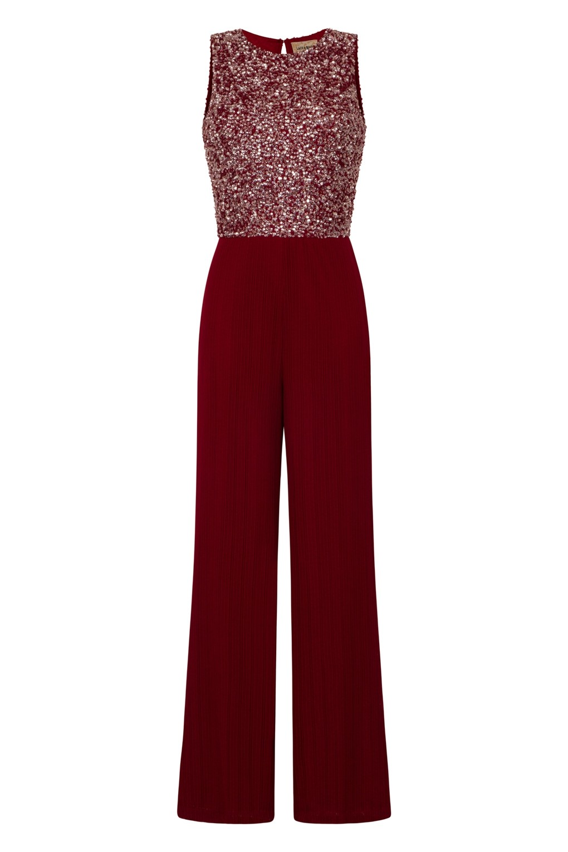 lace beads picasso embellished burgundy jumpsuit lace. Black Bedroom Furniture Sets. Home Design Ideas