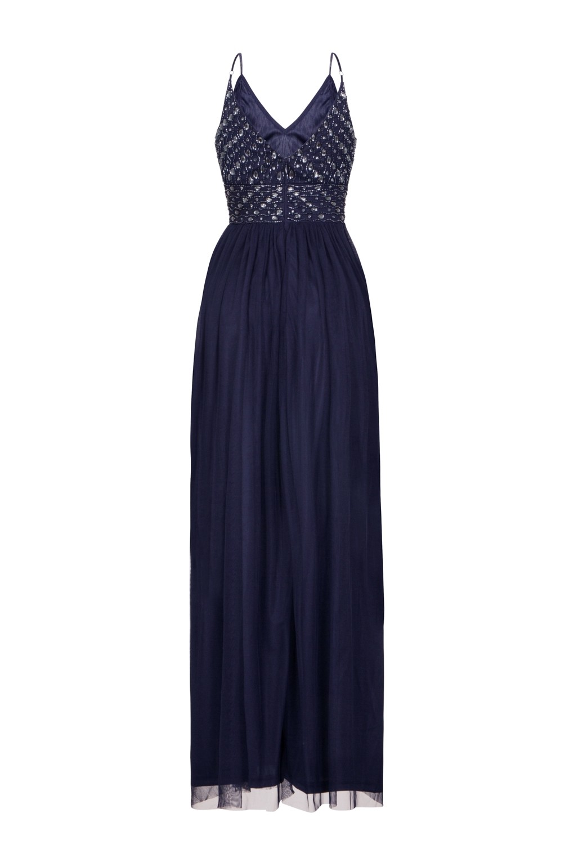 Lace Amp Beads Maeve Navy Embellished Maxi Dress Lace