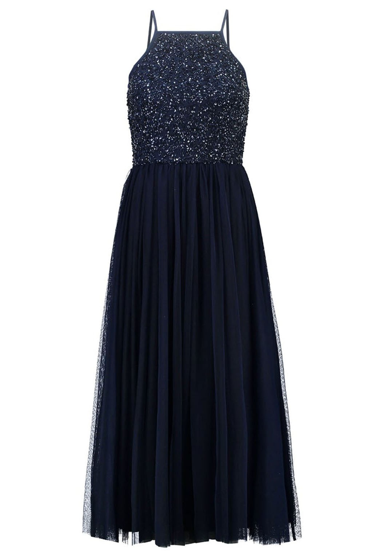 lace beads sprinkle navy midi dress party dresses. Black Bedroom Furniture Sets. Home Design Ideas