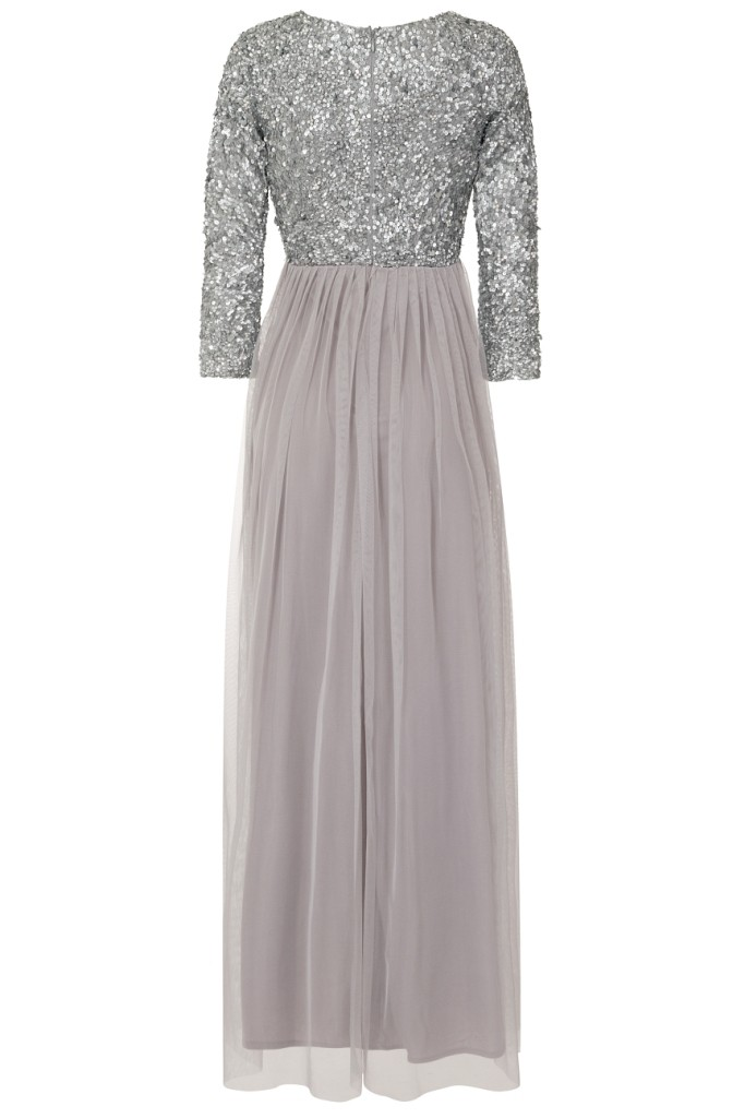 Lace Amp Beads Picasso Long Sleeved Grey Embellished Maxi