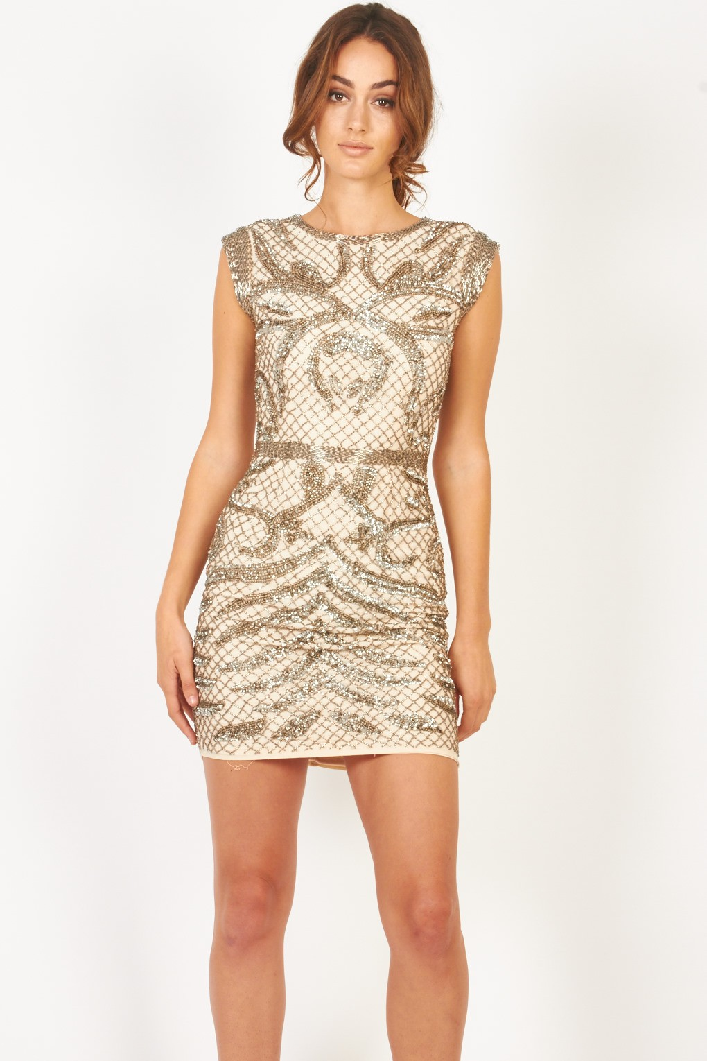 Lace Amp Beads Malta Nude Embellished Dress Party Dresses