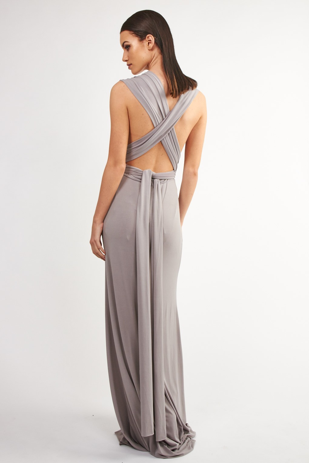 Tfnc Multi Way Grey Maxi Dress Tfnc Party Dresses