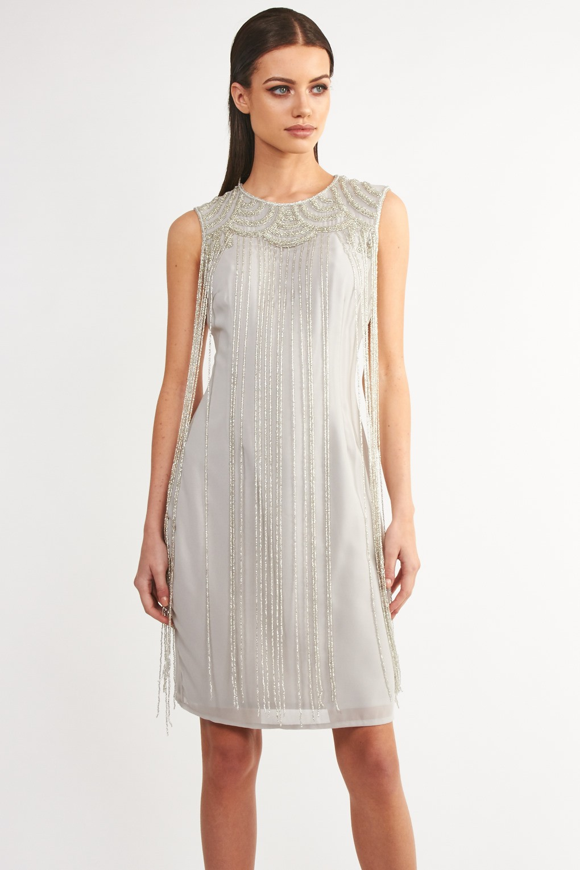 lace beads taylor fringe grey embellished dress party. Black Bedroom Furniture Sets. Home Design Ideas
