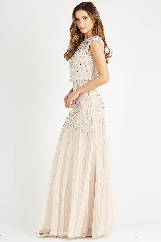 Lace Amp Beads Maje Nude Maxi Dress Lace Amp Beads Party Dress
