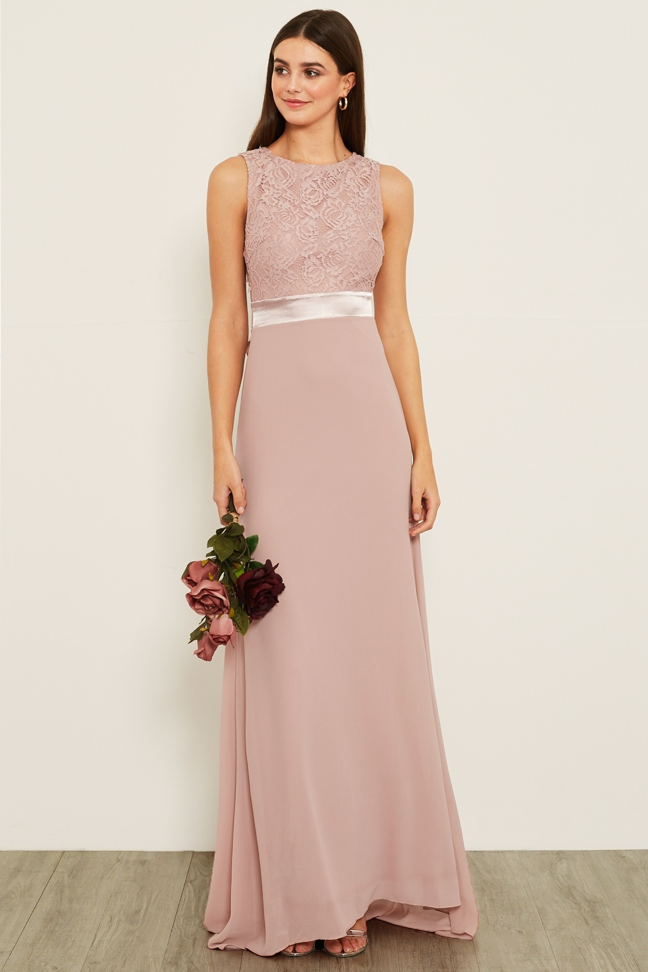 Tfnc Halannah Lace Sleeveless Pale Mauve Maxi Dress Tfnc