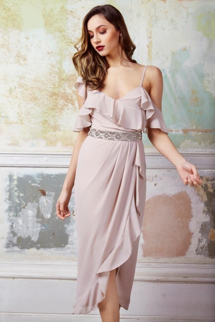 Tfnc Elsa Wrap Taupe Midi Dress Tfnc Party Dresses
