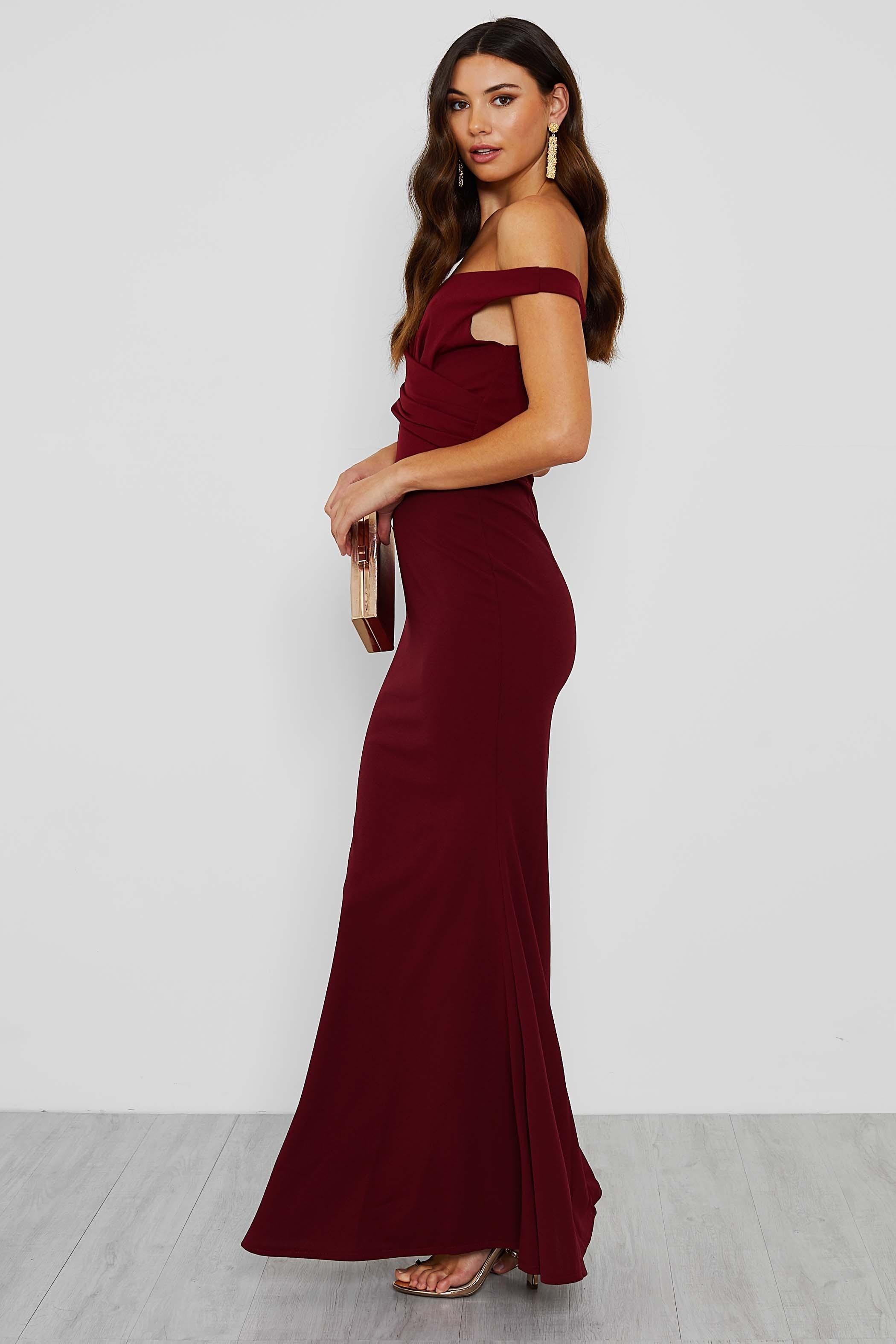 Walg Off Shoulder Burgundy Maxi Dress Walg Maxi Dress