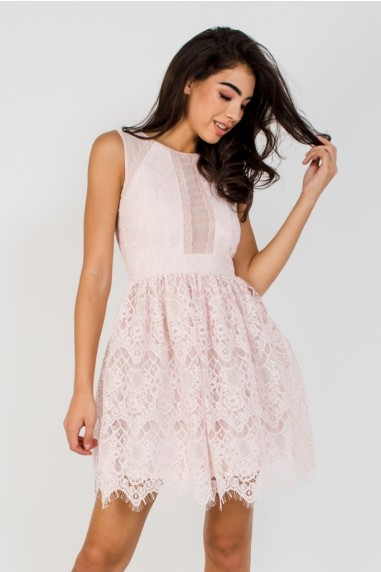 TFNC Kacia Peach Blush Mini Dress